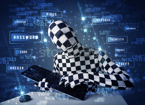 Stock photo: Man without identity programing in technology enviroment with cyber icons and symbols