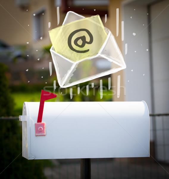 Kopercie podpisania poczty biały papieru Zdjęcia stock © ra2studio