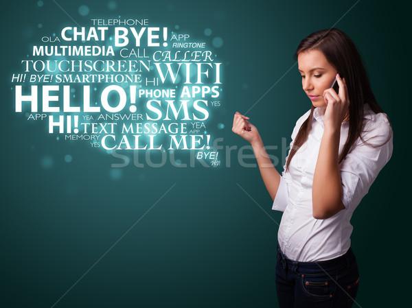 Joven llamando teléfono nube de palabras bastante nina Foto stock © ra2studio