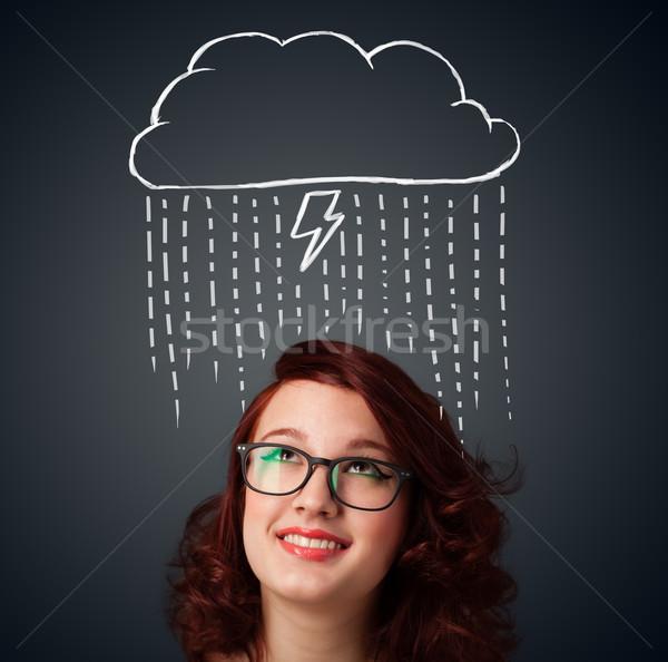 Genç kadın üzerinde kafa kadın arka plan Stok fotoğraf © ra2studio
