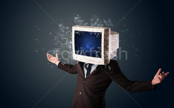 Stok fotoğraf: Bilgisayar · monitörü · ekran · genç · kafa · bilgisayar