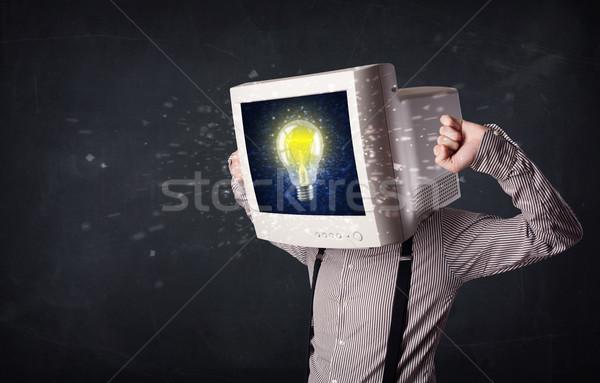 Zakenman pc monitor hoofd idee gloeilamp Stockfoto © ra2studio