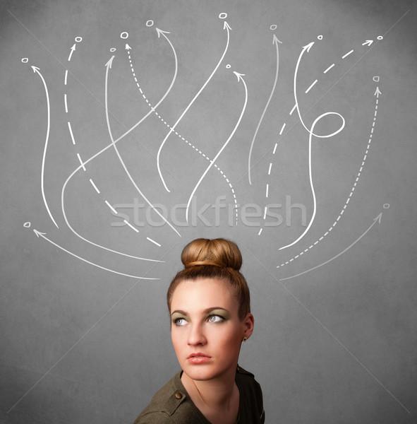 ストックフォト: 若い女性 · 外に · 頭 · かなり · 思考