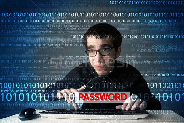 Zdjęcia stock: Młodych · geek · hacker · hasło · futurystyczny