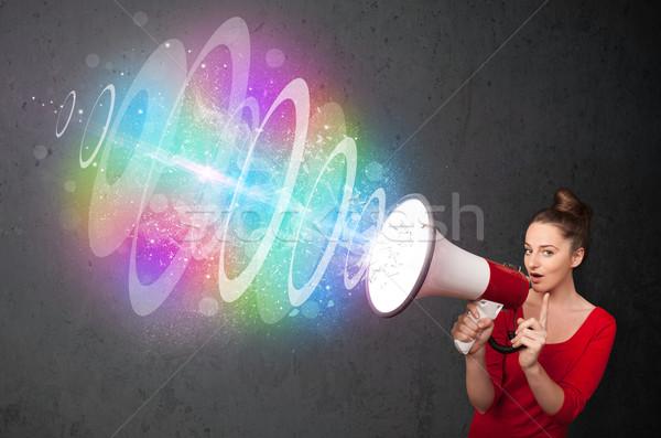 Stock fotó: Fiatal · lány · hangfal · színes · energia · nyaláb · aranyos