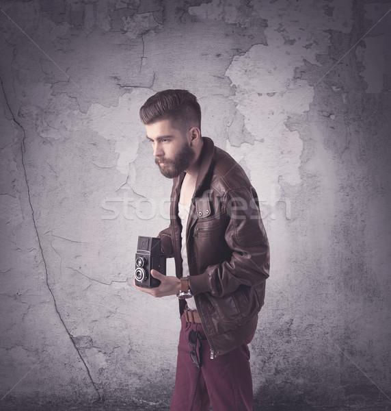 ハンサム ヒップスター ファッション 服 面白い ヴィンテージ ストックフォト © ra2studio