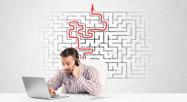 Zakenman bureau labyrint pijl man puzzel Stockfoto © ra2studio