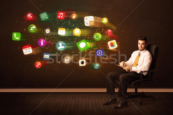 ビジネスマン 座って 事務椅子 タブレット カラフル アプリ ストックフォト © ra2studio