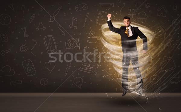 Mutlu işadamı atlama kasırga kahverengi iş Stok fotoğraf © ra2studio