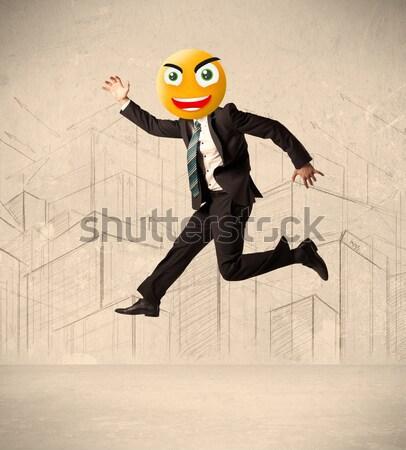 Biznesmen diabeł funny uśmiech szczęśliwy Zdjęcia stock © ra2studio
