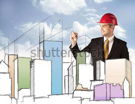 Construction worker planning a city sight Stock photo © ra2studio