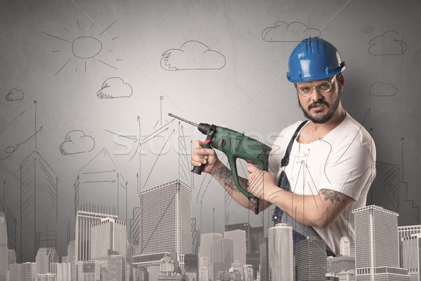 City plan with worker. Stock photo © ra2studio