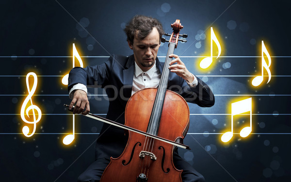 Jovem violoncelista música folha bonito jogar Foto stock © ra2studio