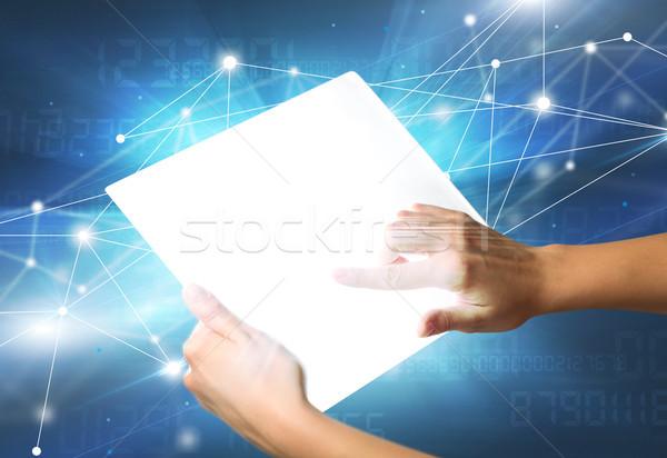 Handen aanraken tablet jonge vrouwelijke hand Stockfoto © ra2studio
