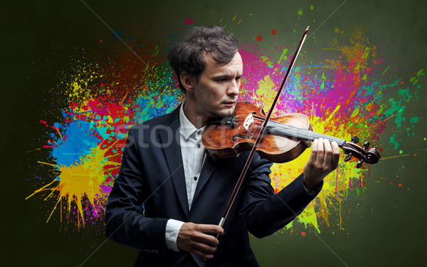 Composer with splotch and his violin Stock photo © ra2studio
