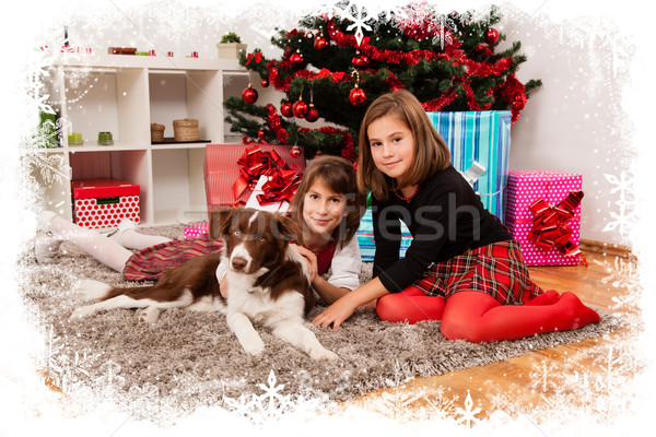 Gyerekek karácsony ajándékok hópehely keret család Stock fotó © ra2studio
