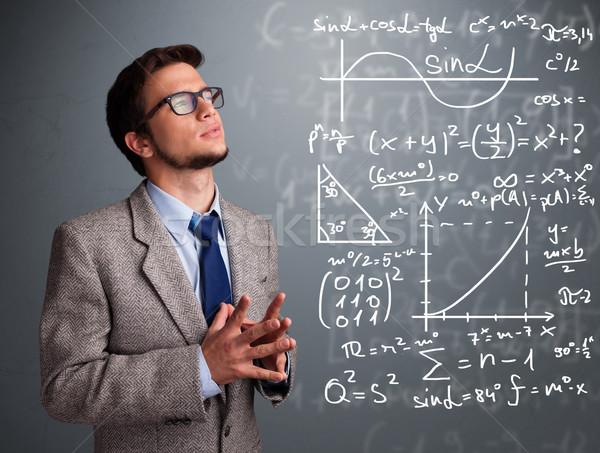 Yakışıklı düşünme karmaşık matematiksel işaretleri Stok fotoğraf © ra2studio