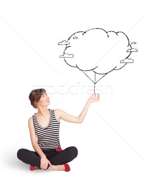 Stockfoto: Jonge · dame · wolk · ballon · tekening