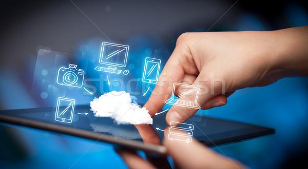 Ujj mutat táblagép mobil felhő kéz Stock fotó © ra2studio