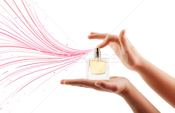 woman hands spraying colorful lines Stock photo © ra2studio