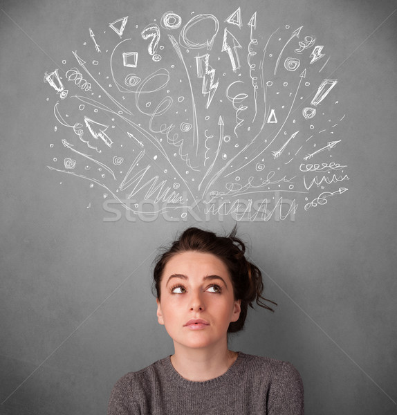 ストックフォト: 若い女性 · 思考 · 頭 · かなり