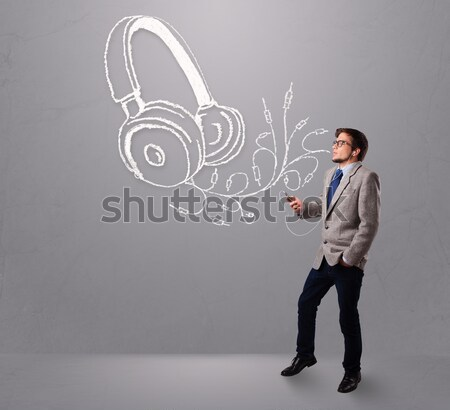 Funny hipster guy shouting drawn items Stock photo © ra2studio