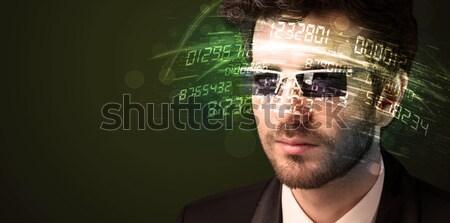 Homem de negócios olhando alto tecnologia número computador Foto stock © ra2studio