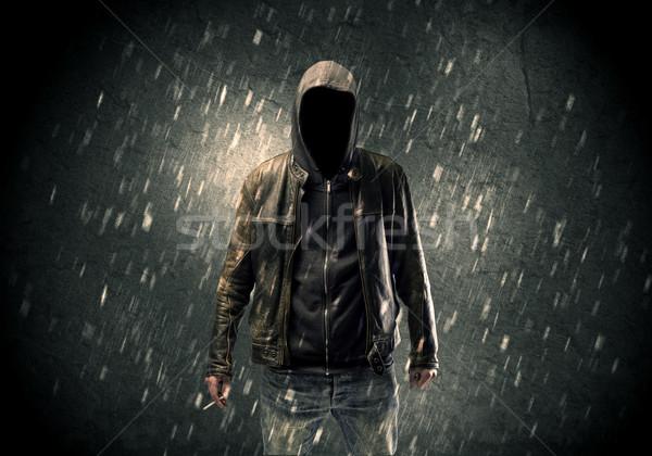 Nieznany stałego ciemne człowiek widoczny Zdjęcia stock © ra2studio