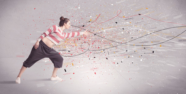 Urban dancing with lines and splatter Stock photo © ra2studio