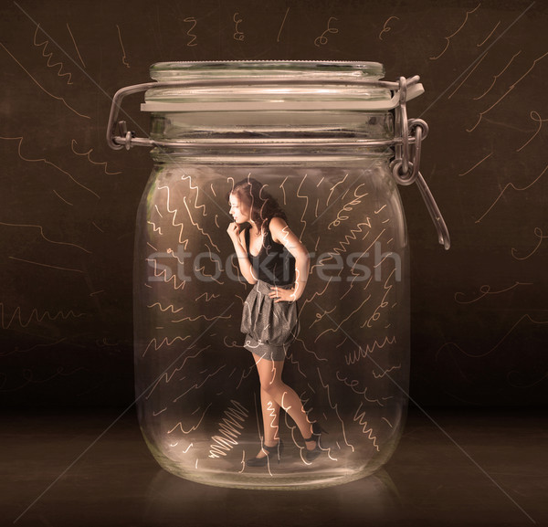 Mujer de negocios dentro jar potente dibujado a mano líneas Foto stock © ra2studio