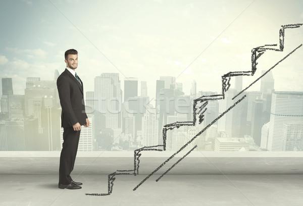üzletember mászik felfelé kézzel rajzolt lépcsőház város Stock fotó © ra2studio