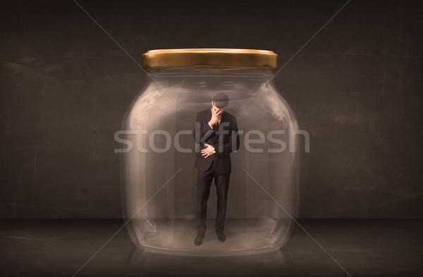Biznesmen zamknięty szkła jar biuro przestrzeni Zdjęcia stock © ra2studio