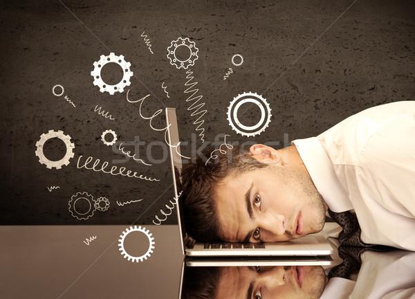 Viselet kerekek ugrik lehangolt fej zuhan Stock fotó © ra2studio