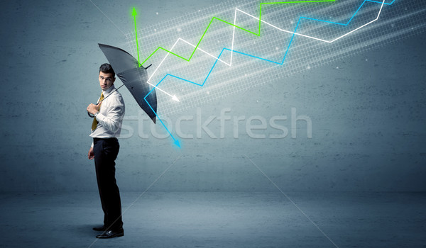 Empresário guarda-chuva mercado de ações colorido negócio Foto stock © ra2studio