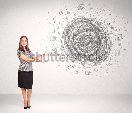 Foto stock: Jóvenes · mujer · de · negocios · los · medios · de · comunicación · garabato · Internet · resumen