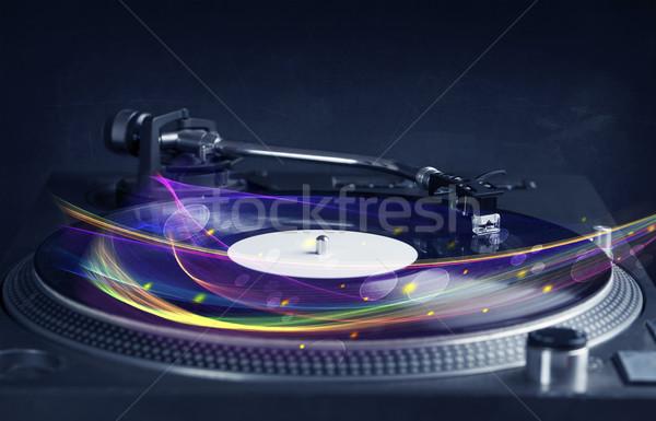 Stockfoto: Draaitafel · spelen · vinyl · abstract · lijnen