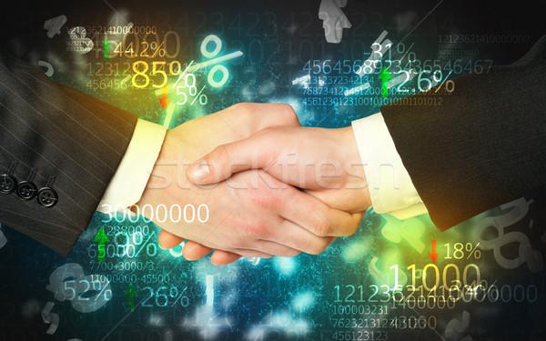 Economie handdruk aantal analyse man ontwerp Stockfoto © ra2studio