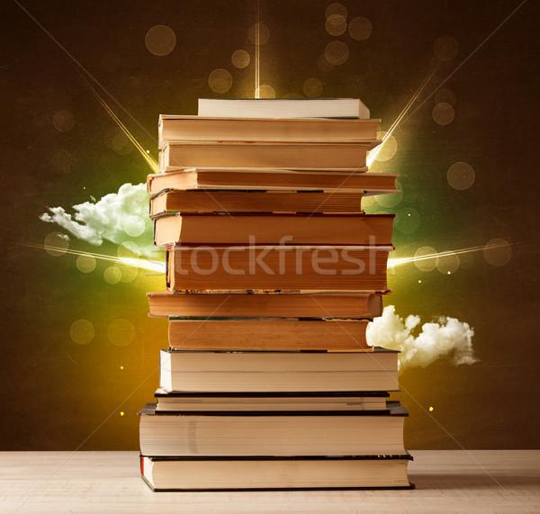 Magiczny książek światła kolorowy chmury vintage Zdjęcia stock © ra2studio