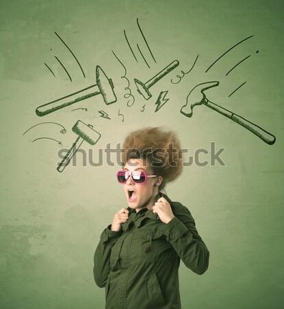 Cansado mulher dor de cabeça martelo símbolos Foto stock © ra2studio