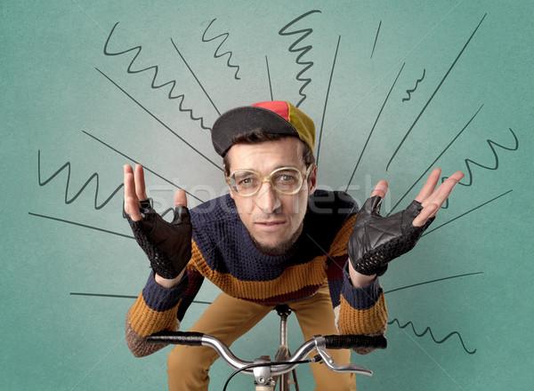 ストックフォト: 極端な · サイクリスト · 自転車 · 小さな · いたずら書き · 緑
