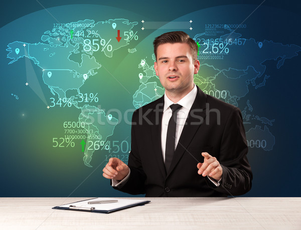 Trade market analyst is studio reporting world trading news with map concept Stock photo © ra2studio