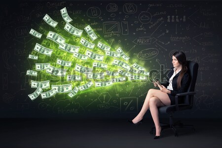 Woman sitting with numbers and reports concept Stock photo © ra2studio