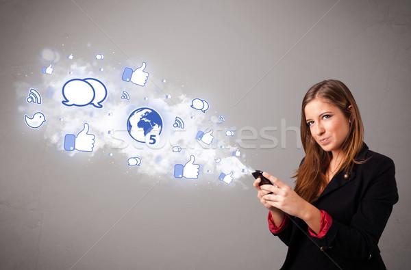 Zdjęcia stock: Dość · młoda · dziewczyna · telefonu · social · media · ikona