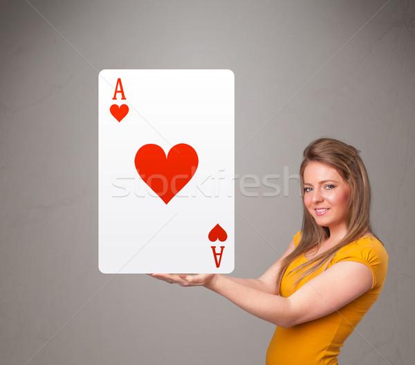 Vrouw Rood hart aas jonge vrouw Stockfoto © ra2studio