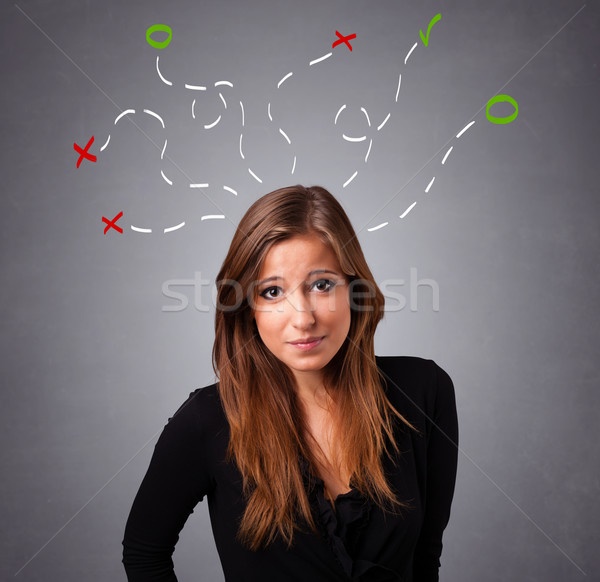 Young woman thinking with abstract marks overhead Stock photo © ra2studio
