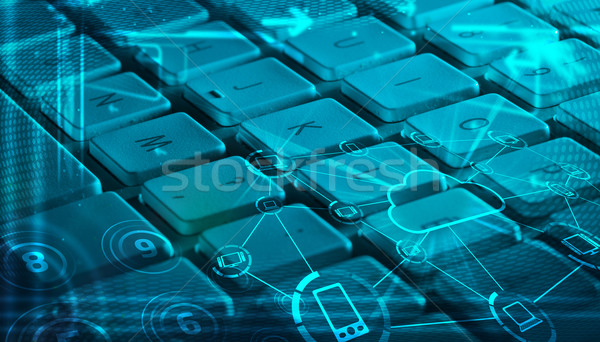 Keyboard with glowing cloud technology icons Stock photo © ra2studio