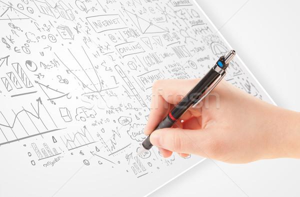 Ludzka ręka pomysły biały papieru wielokrotność działalności Zdjęcia stock © ra2studio