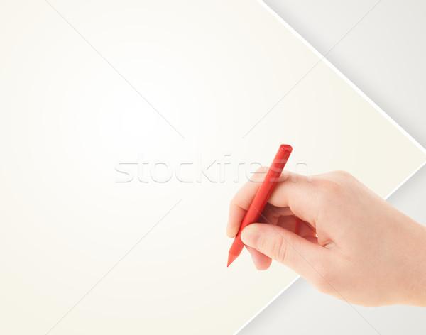 Kind tekening kleurrijk krijt lege blanco papier Stockfoto © ra2studio