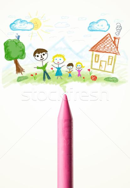 Crayon desenho família pintar Foto stock © ra2studio