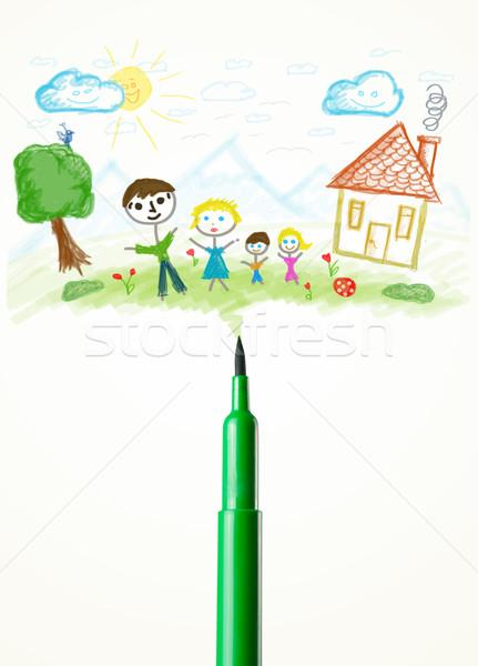 пер рисунок семьи краской Сток-фото © ra2studio